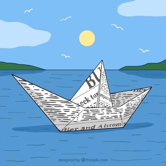 Paisagem com barco de papel