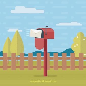 Paisagem com caixa de correio vermelha no design plano