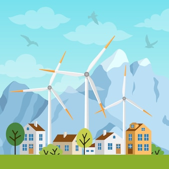Paisagem com casas, moinhos de vento e montanhas