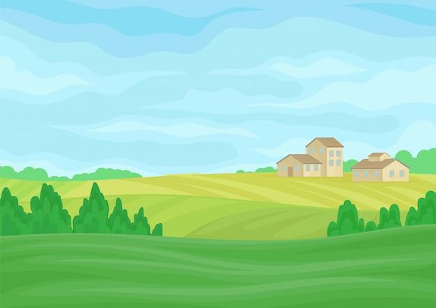 Paisagem com celeiros de pedra ao longe nas colinas.