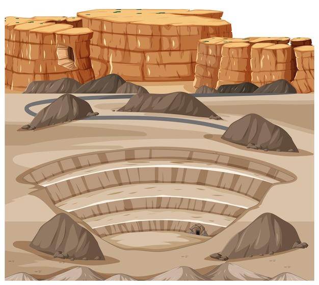 Paisagem com cena de pedreira de mineração