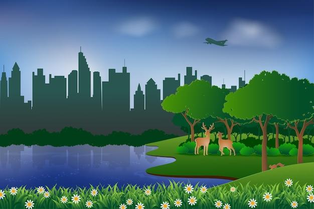Paisagem com conceito urbano da cidade e da natureza