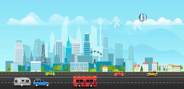 Paisagem com edifícios, montanhas e veículos. ilustração da vida na cidade
