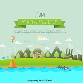 Paisagem com energias renováveis para o dia mundial do meio ambiente