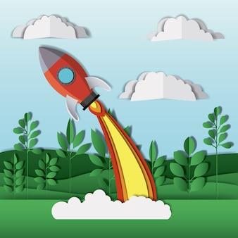 Paisagem com engenho de foguetes