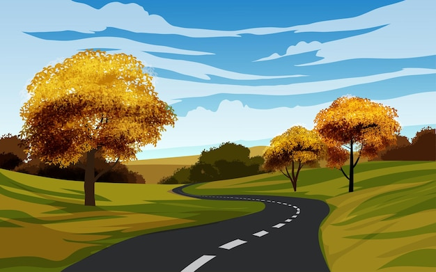 Paisagem com estrada vazia e árvores de outono
