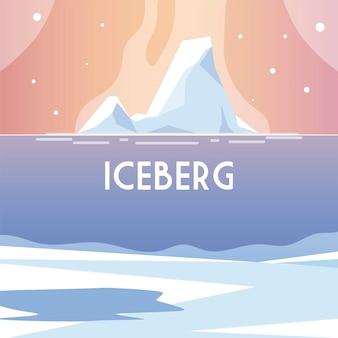 Paisagem com iceberg, ilustração de paisagem do pólo norte de água