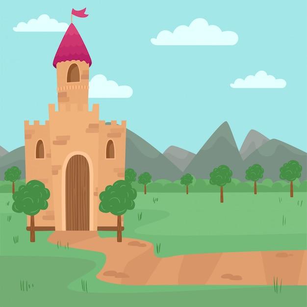 Paisagem com ilustração de castelo medieval de fadas, elemento para história de conto de fadas para crianças ilustração