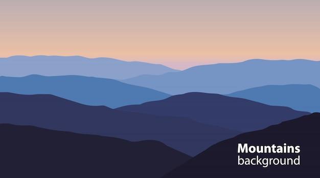 Paisagem, com, montanhas, e, colinas