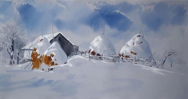 Paisagem com montanhas e esboço desenhado à mão em aquarela de casa