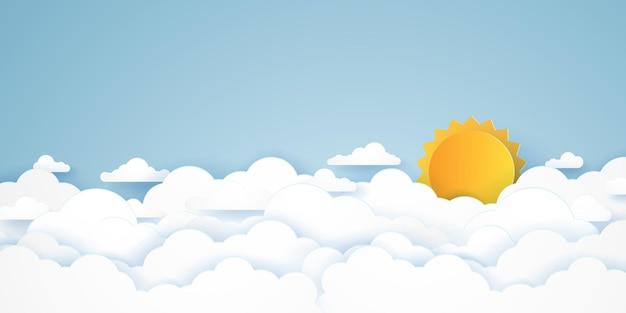 Paisagem com nuvens, céu azul com nuvens e sol forte, estilo de arte em papel