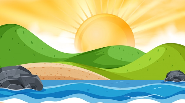 Paisagem com oceano e pôr do sol