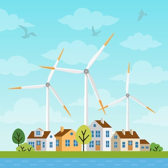 Paisagem com pequenas casas e moinhos de vento em um fundo de céu e clowds. as turbinas eólicas produzem energia renovável ecológica na natureza. fontes alternativas de energia.