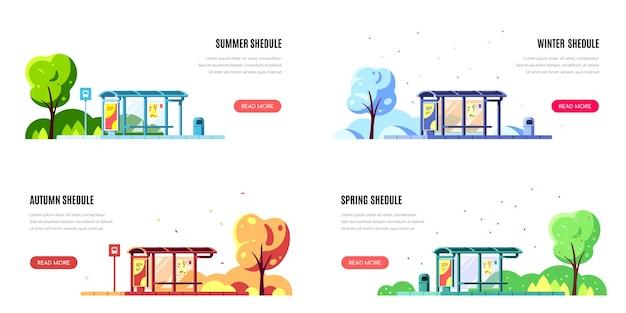 Paisagem com ponto de ônibus e árvore isolada no branco. conjunto de banners de conceito de parada de ônibus para cada temporada