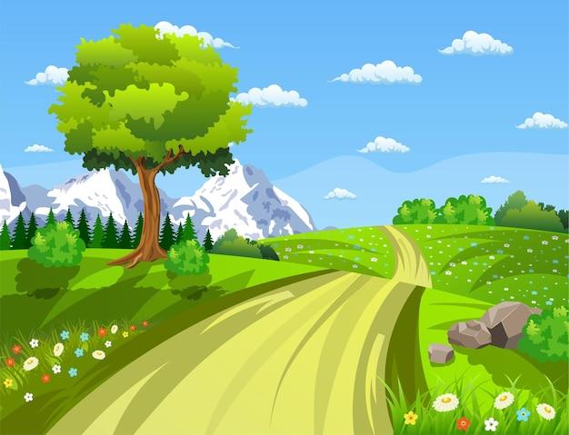 Paisagem com prados e flores. estrada e floresta, paisagem natural.