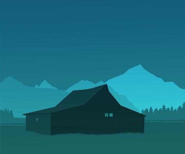 Paisagem, com, silhuetas, de, a, casa, árvores, e, montanhas