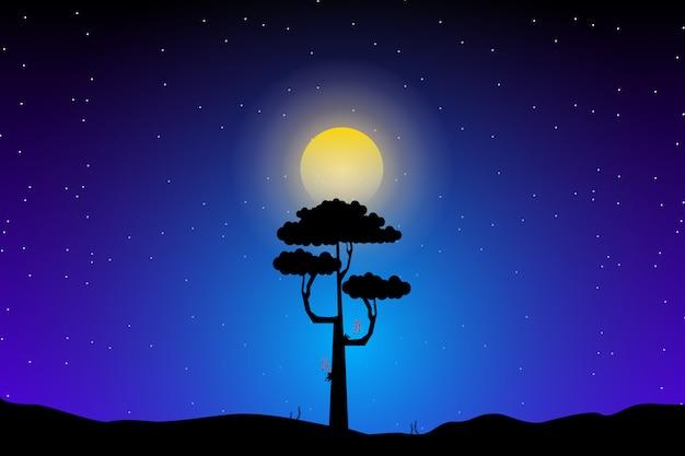 Paisagem com silhuetas de árvores com fundo do céu da noite estrelada