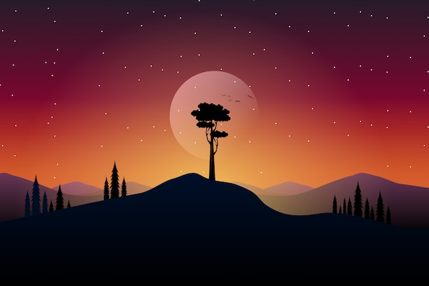 Paisagem com silhuetas de árvores com montanha e noite estrelada