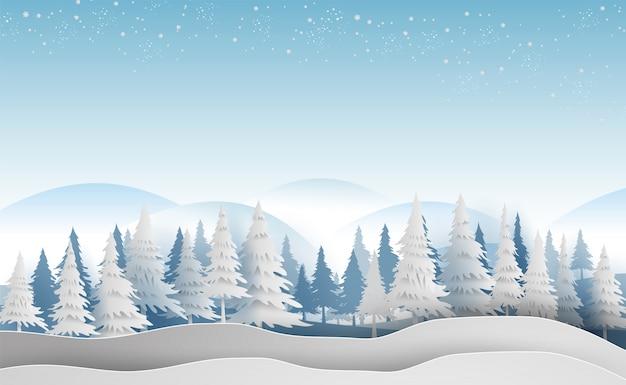 Paisagem com temporada de flocos de neve de inverno floresta