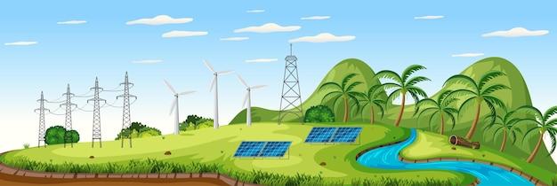Paisagem com turbinas eólicas e cenário de células solares