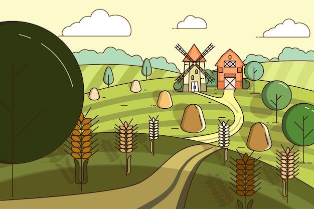 Paisagem com um moinho e um celeiro no meio de campos com trigo.