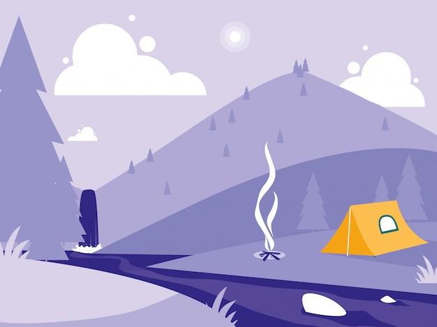 Paisagem criativa com montanhas e tendas de acampamento