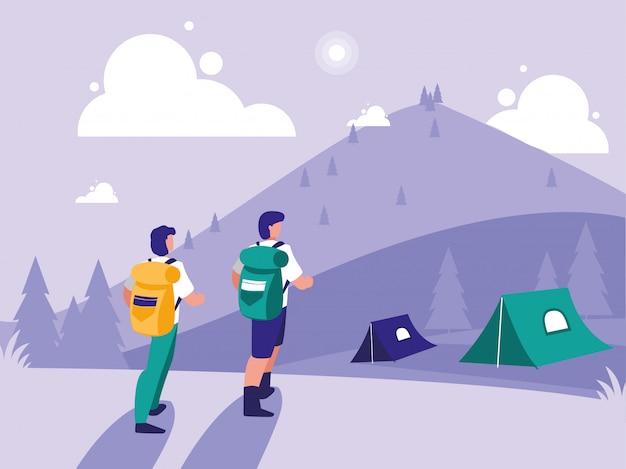 Paisagem criativa com pessoas acampando
