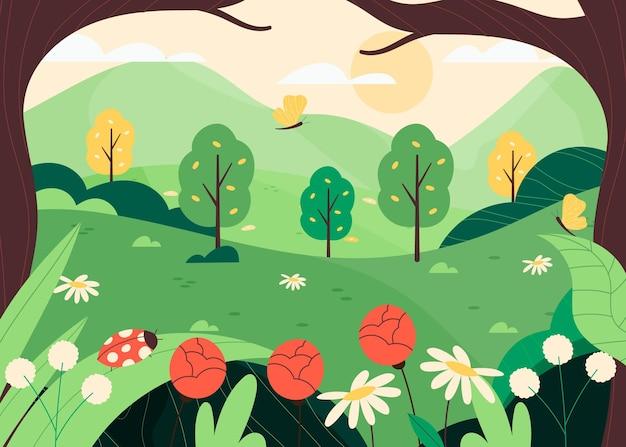 Paisagem criativa desenhada de primavera