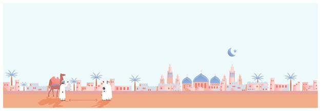 Paisagem da aldeia de oásis de tijolo de lama no deserto. aldeia muçulmana de tijolos com viajante, camelo e tenda. pessoas usando máscara e fazendo distanciamento social.