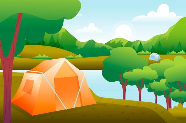 Paisagem da área de acampamento com barraca