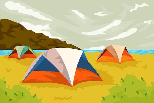 Paisagem da área de acampamento com barracas