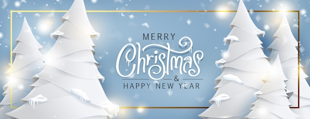 Paisagem da árvore de natal e estilo de arte de papel a nevar. texto de natal com letras caligráficas