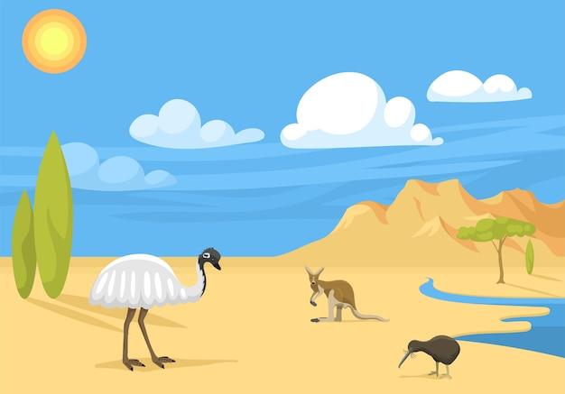 Paisagem da austrália com ilustração dos desenhos animados de animais.