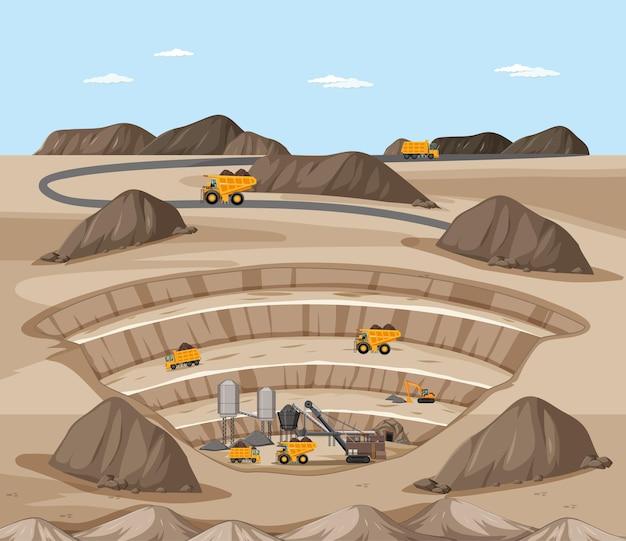 Paisagem da cena da mineração de carvão com guindaste e caminhões