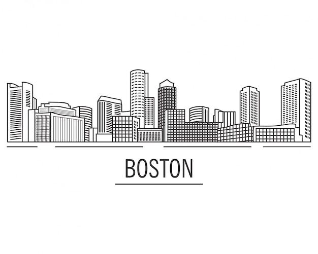 Paisagem da cidade boston massachusetts desenhado com linhas. arranha-céus americanos da cidade e prédios na mão desenhada. vista de boston do rio. skyline e marco dos eua