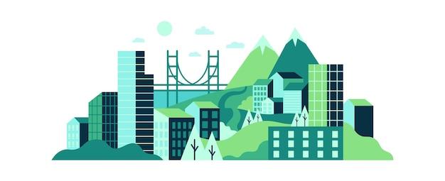 Paisagem da cidade com altos edifícios de vidro, colinas verdes e montanhas.