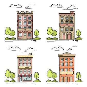 Paisagem da cidade com casas, árvores e nuvens.