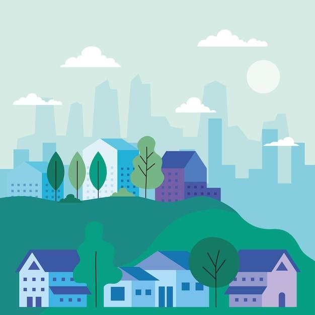 Paisagem da cidade com casas, árvores, nuvens e sol, arquitetura e tema urbano