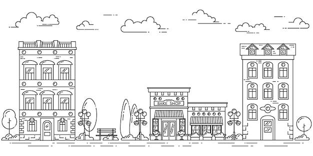 Paisagem da cidade com casas, café, árvores, nuvens. ilustração vetorial. arte de linha plana.