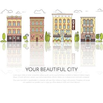 Paisagem da cidade com casas, parque, árvores, nuvens. ilustração vetorial. arte de linha plana.