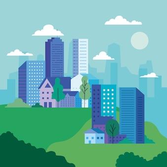 Paisagem da cidade com edifícios, casas, árvores, nuvens e sol, arquitetura e tema urbano