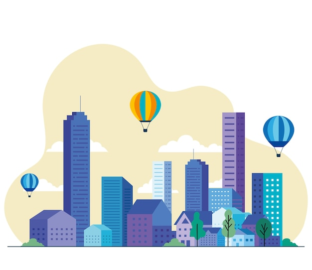 Paisagem da cidade com edifícios, casas, balões de ar quente, árvores e nuvens, design, arquitetura e tema urbano