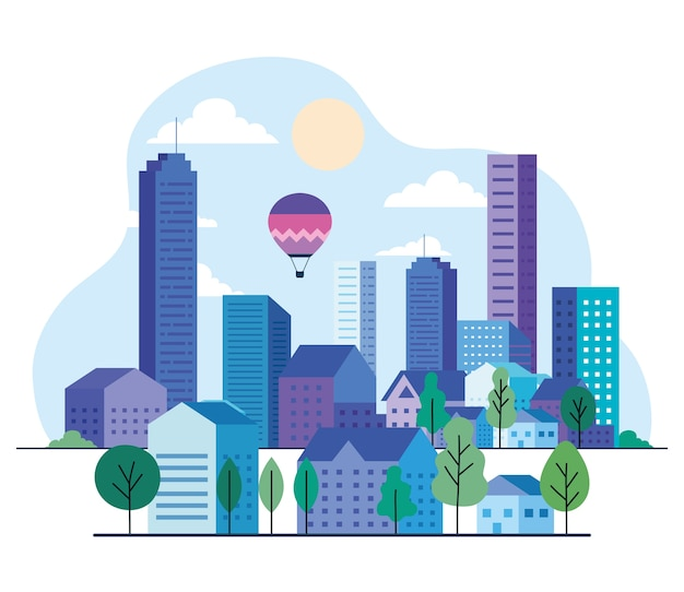 Paisagem da cidade com edifícios, casas, balões de ar quente, árvores, sol e nuvens, design, arquitetura e tema urbano
