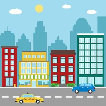 Paisagem da cidade com edifícios, lojas, carros e táxis