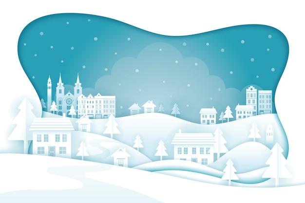 Paisagem da cidade com tema de inverno