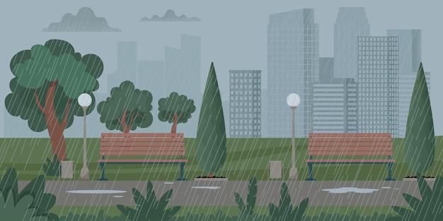 Paisagem da cidade com tempo chuvoso, tempestade. chuva no parque. ilustração vetorial em estilo simples