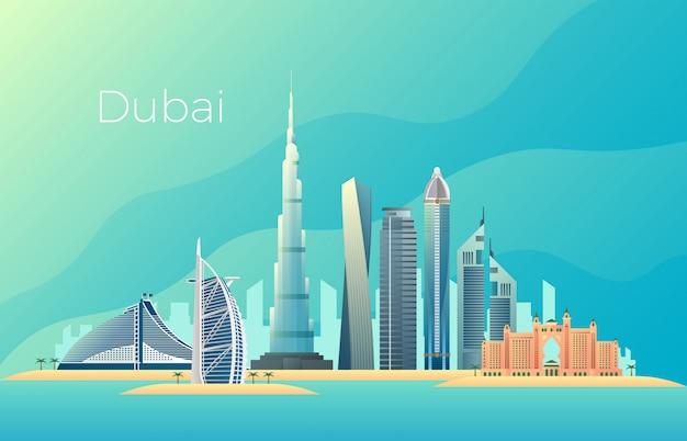 Paisagem da cidade de dubai. marco de vetor de paisagem urbana arquitetura emirates