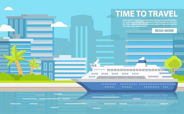 Paisagem da cidade dos arranha-céus de construção. navio de passageiros portuários. embarcação marítima, navio de viagem, viagem de férias para o resort. palmeiras e arbustos. verão à beira-mar.