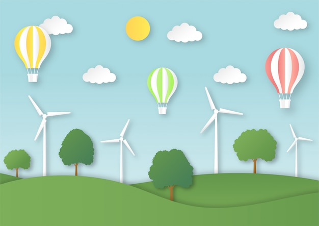 Paisagem da cidade eco com balão voando estilo arte de papel.