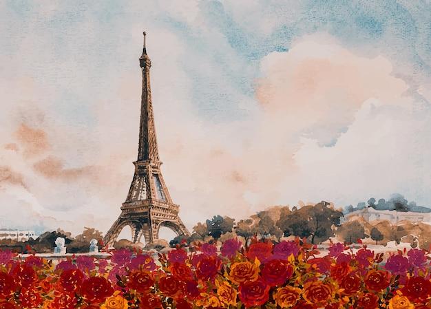 Paisagem da cidade europeia de paris frança torre eiffel com rosas vermelhas no outono pintura em aquarela